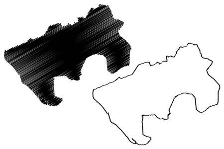 Vasai-Virar City (Republic of India, Maharashtra State) map vector illustration, scribble sketch City of Vasai Virar map