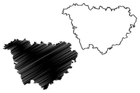 Haute-Loire Department (France, French Republic, Auvergne-Rhone-Alpes region, ARA) map vector illustration, scribble sketch Haute Loire map