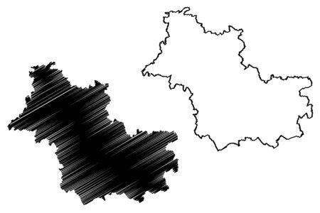 Loir-et-Cher Department (France, French Republic, Centre-Val de Loire region) map vector illustration, scribble sketch Loir et Cher map Illustration
