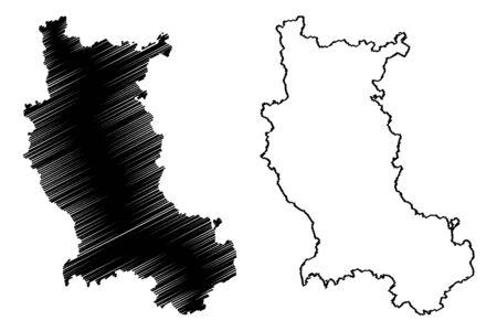 Loire Department (France, French Republic, Auvergne-Rhone-Alpes region, ARA) map vector illustration, scribble sketch Loire map Illustration