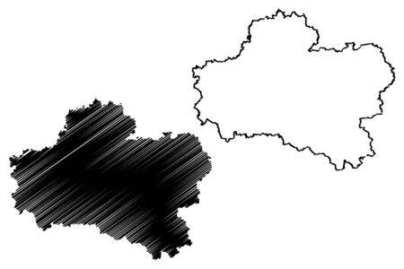 Loiret Department (France, French Republic, Centre-Val de Loire region) map vector illustration, scribble sketch Loiret map