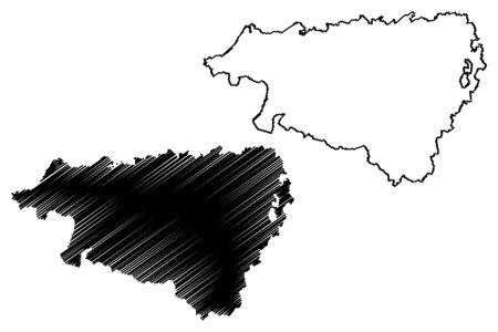 Pyrenees-Atlantiques Department (France, French Republic, Nouvelle-Aquitaine region) map vector illustration, scribble sketch Pirinio Atlantikoak map