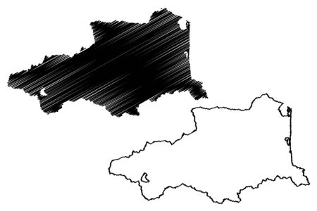 Pyrenees-Orientales Department (France, French Republic, Occitanie or Occitania region) map vector illustration, scribble sketch Pyrenees Orientales map