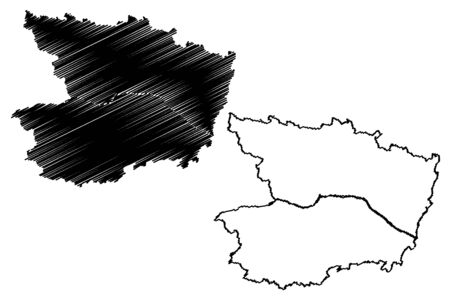 Maine-et-Loire Department (France, French Republic, Pays de la Loire region) map vector illustration, scribble sketch Maine et Loire map