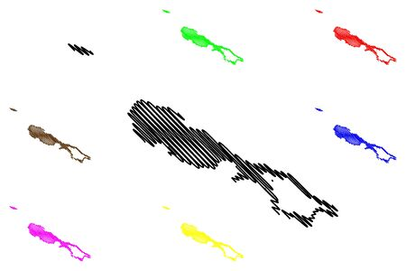 Rennell and Bellona Province (Provinces of Solomon Islands, Solomon Islands, island) map vector illustration, scribble sketch Mu Ngava and Mu Ngiki map 向量圖像