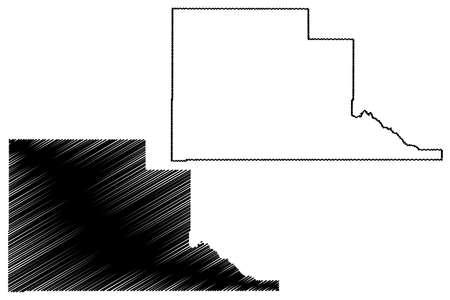 Jefferson County, Idaho (U.S. county, United States of America, USA, U.S., US) map vector illustration, scribble sketch Jefferson map