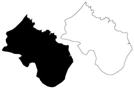 Santa Cruz municipality (Republic of Cabo Verde, concelhos, Cape Verde, Santiago island, archipelago) map vector illustration, scribble sketch Santa Cruz map