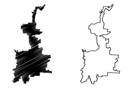 Medan City (Republic of Indonesia, Sumatra island) map vector illustration, scribble sketch City of Medan map