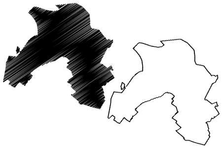 Karaj City (Islamic Republic of Iran, Persia, Alborz Province) map vector illustration, scribble sketch City of Karaj map