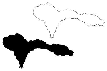 Sao Nicolau island (Republic of Cabo Verde, concelhos, Cape Verde, island, archipelago) map vector illustration, scribble sketch Sao Nicolau map