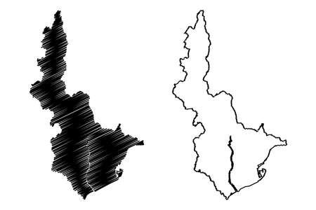 Shizuoka City (State of Japan, island country, Chubu region) map vector illustration, scribble sketch City of Shizuoka map