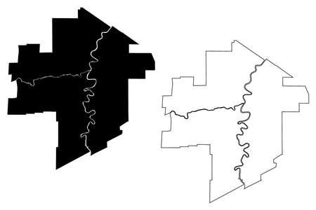 Winnipeg City (Canada, Manitoba Province) map vector illustration, scribble sketch City of Winnipeg map