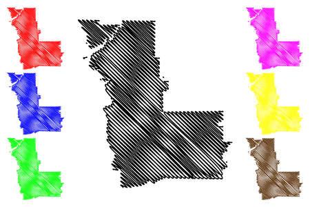 Clay County, Georgia (U.S. county, United States of America,USA, U.S., US) map vector illustration, scribble sketch Clay map Illusztráció