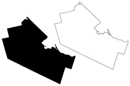 Hamilton City (Canada, Ontario Province) map vector illustration, scribble sketch City of Hamilton map