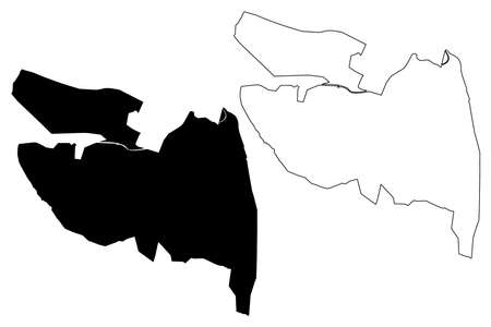 La Vega City (Dominican Republic, Hispaniola island) map vector illustration, scribble sketch City of La Vega Real map