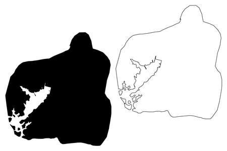 Santiago de Cuba City (Republic of Cuba) map vector illustration, scribble sketch City of Santiago de Cuba map