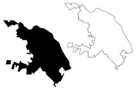 Ciudad Juarez City (United Mexican States, Mexico, Chihuahua state) map vector illustration, scribble sketch City of El Paso del Norte map