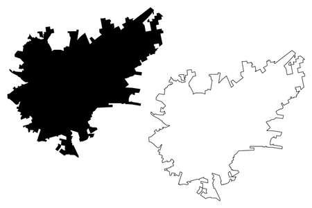 Durango City (United Mexican States, Mexico, Estado Libre y Soberano de Durango State) map vector illustration, scribble sketch City of Victoria de Durango map Vectores