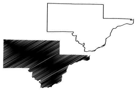 Schuyler County, Illinois (US county, United States of America, USA, US, US) map vector illustration, scribble sketch Schuyler map Ilustração