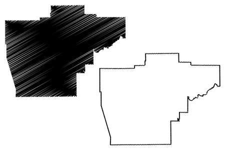 Sangamon County, Illinois (US county, United States of America, USA, US, US) map vector illustration, scribble sketch Sangamon map Ilustração