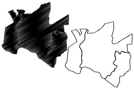 Kathmandu City (Federal Democratic Republic of Nepal, Bagmati Pradesh) map vector illustration, scribble sketch City of Kathmandu map