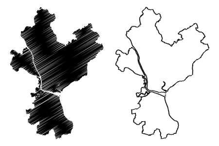 Yangon City (Republic of the Union of Myanmar, Burma) map vector illustration, scribble sketch City of Rangoon map Ilustração