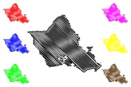 City and County of Honolulu, Hawaii (US county, United States of America, USA, US, US, island, archipelago) map vector illustration, scribble sketch Oahu map Ilustração