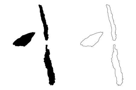 Penama Province (Republic of Vanuatu, archipelago) map vector illustration, scribble sketch Pentecost, Ambae, Maewo island map Ilustração