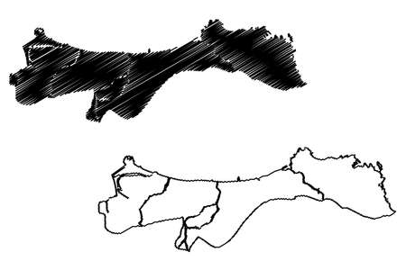 Muscat City (Sultanate of Oman) map vector illustration, scribble sketch City of Muscat map
