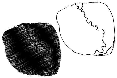 Mardan City (Islamic Republic of Pakistan, Khyber Pakhtunkhwa Province) map vector illustration, scribble sketch City of Mardan map Ilustração