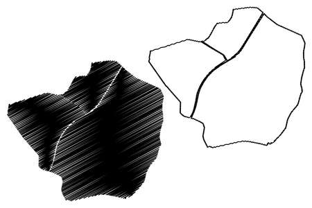 Larkana City (Islamic Republic of Pakistan, Sindh Province) map vector illustration, scribble sketch City of Larkana map