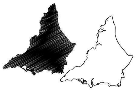 Karachi City (Islamic Republic of Pakistan, Sindh Province) map vector illustration, scribble sketch City of Karachi map