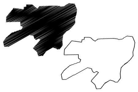 Rahim Yar Khan City (Islamic Republic of Pakistan, Punjab Province) map vector illustration, scribble sketch City of Rahim Yar Khan map Ilustração