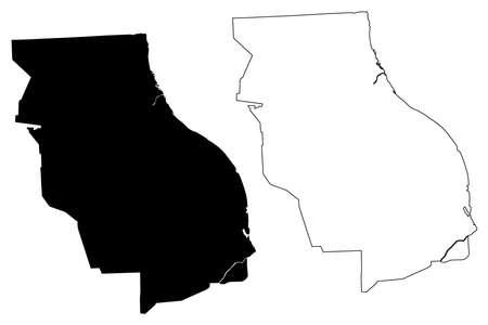 Rosario City (Argentine Republic, Santa Fe Province) map vector illustration, scribble sketch City of Rosario map Ilustração