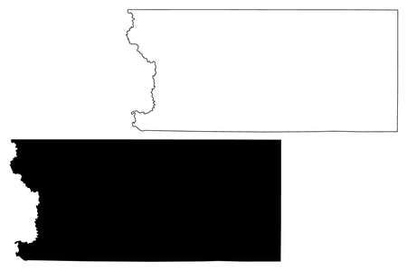 Lyon County, Iowa (US county, United States of America, USA, US, US) map vector illustration, scribble sketch Lyon map