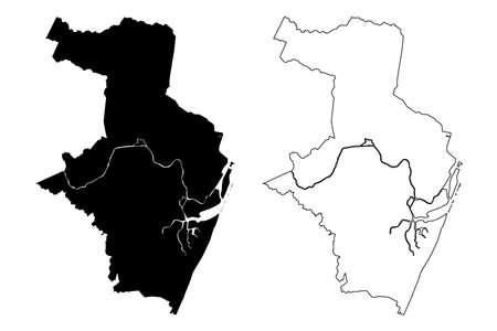 Recife City (Federative Republic of Brazil, Pernambuco State) map vector illustration, scribble sketch City of Recife map Ilustração