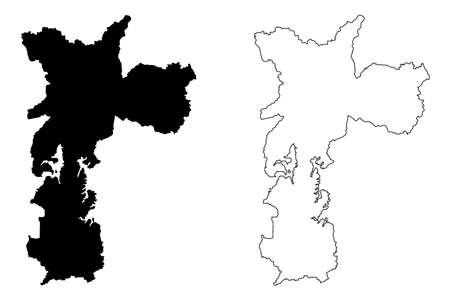 Sao Paulo City (Federative Republic of Brazil, Sao Paulo State) map vector illustration, scribble sketch City of Sao Paulo map Ilustração