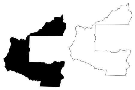 Santa Cruz City (Plurinational State of Bolivia, Andres Ibanez Province) map vector illustration, scribble sketch City of Santa Cruz de la Sierra map