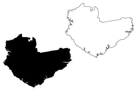 Manaus City (Federative Republic of Brazil, Amazonas State) map vector illustration, scribble sketch City of Manaus map Ilustração