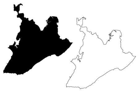 Salvador City (Federative Republic of Brazil, Bahia State) map vector illustration, scribble sketch City of Sao Salvador da Bahia de Todos os Santos map