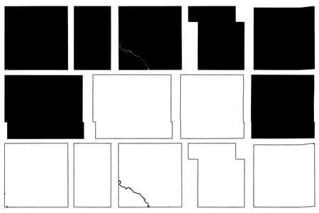 Marshall, Madison, Jasper, Iowa, Ida, Mahaska and Kossuth County, Iowa (US county, United States of America, USA, US, US) map vector illustration, scribble sketch map Ilustração