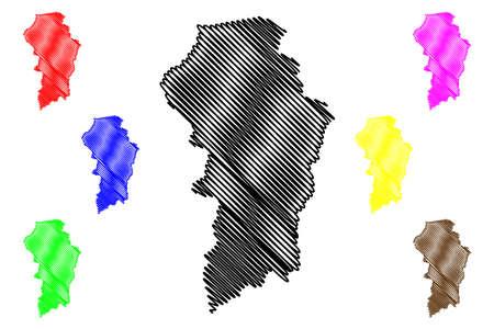 Brokopondo District (Suriname, Republic of Suriname) map vector illustration, scribble sketch Brokopondo map Illustration