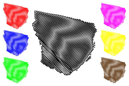 Marowijne District (Suriname, Republic of Suriname) map vector illustration, scribble sketch Marowijne map