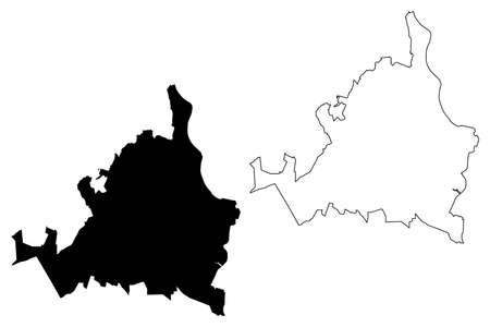 Joao Pessoa City (Federative Republic of Brazil, Paraiba State) map vector illustration, scribble sketch City of Joao Pessoa map