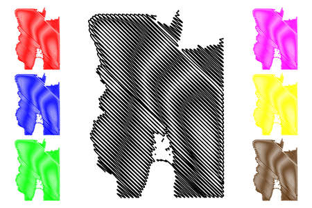 Bear Lake County, Idaho (US county, United States of America, USA, US, US) map vector illustration, scribble sketch Bear Lake map
