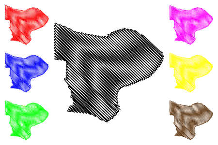 Paramaribo District (Suriname, Republic of Suriname) map vector illustration, scribble sketch Paramaribo map