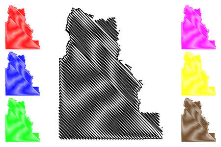 Camas County, Idaho (US county, United States of America, USA, US, US) map vector illustration, scribble sketch Camas map