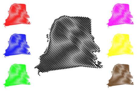 Nickerie District (Suriname, Republic of Suriname) map vector illustration, scribble sketch Nickerie map