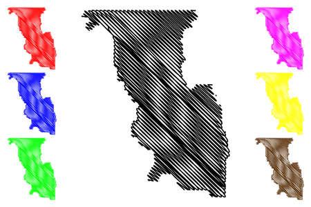 Bannock County, Idaho (US county, United States of America, USA, US, US) map vector illustration, scribble sketch Bannock map