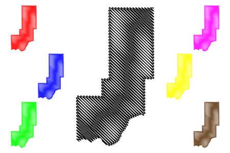 Minidoka County, Idaho (US county, United States of America, USA, US, US) map vector illustration, scribble sketch Minidoka map